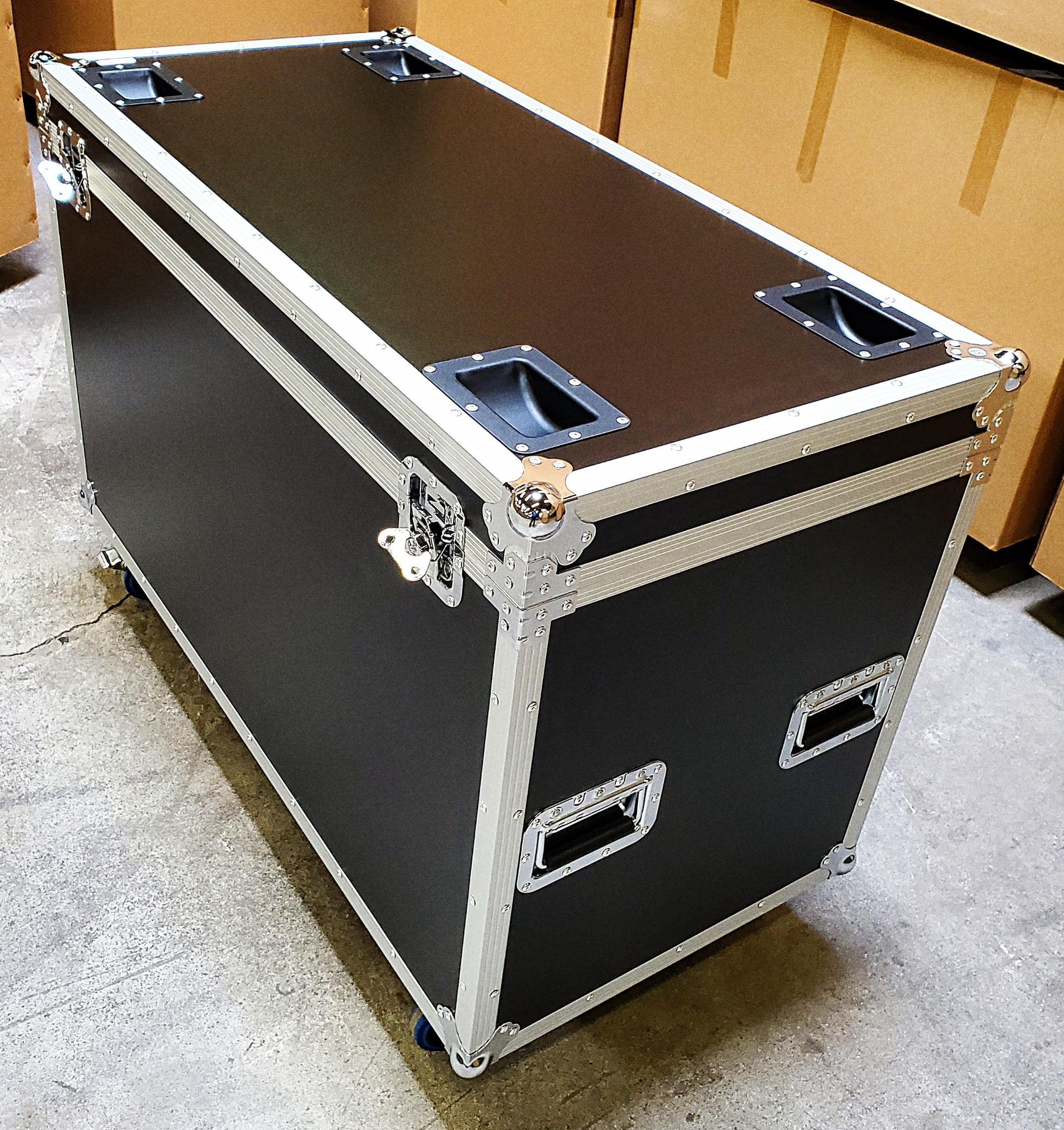 "45"" X 21.5"" Half Pack Road Flight Case Trunk, Full Length Hinge, Locking Casters, Stacking Cups, Recessed Hardware, Padded Interior. 3/8"" Plywood w/ ABS Exterior"